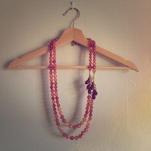 Anthropologie Bold Crimson & Rose Jeweled Necklace